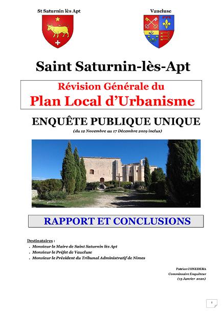 Rapport et Conclusions du Commissaire Enquêteur pour la Révision du PLU