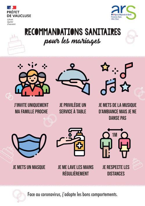 RECOMMANDATIONS SANITAIRES pour les mariages